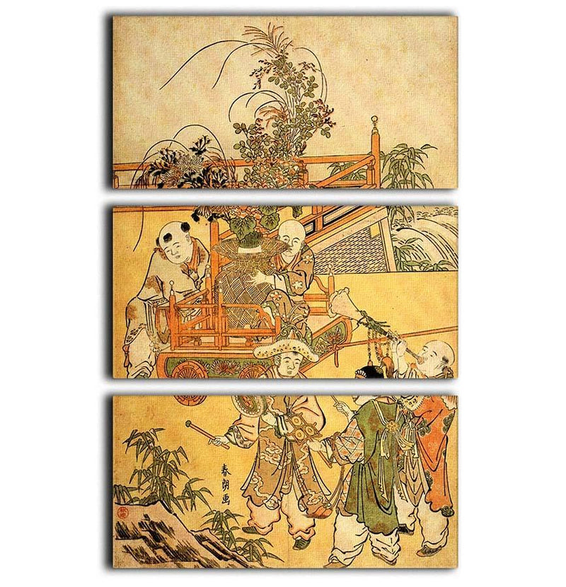 Chinese children by Hokusai 3 Split Panel Canvas Print - Canvas Art Rocks - 1