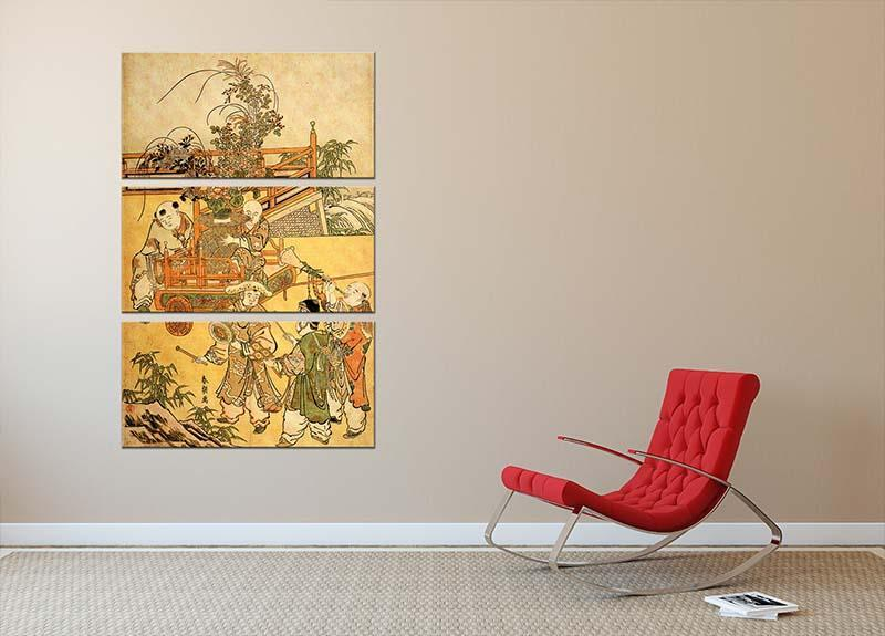 Chinese children by Hokusai 3 Split Panel Canvas Print - Canvas Art Rocks - 2