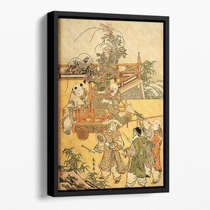 Chinese children by Hokusai Floating Framed Canvas