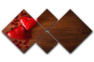 Chocolate hearts on wooden board 4 Square Multi Panel Canvas  - Canvas Art Rocks - 1