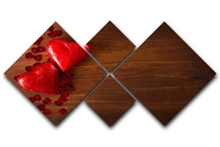 Chocolate hearts on wooden board 4 Square Multi Panel Canvas