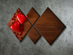 Chocolate hearts on wooden board 4 Square Multi Panel Canvas  - Canvas Art Rocks - 2