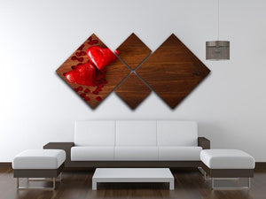 Chocolate hearts on wooden board 4 Square Multi Panel Canvas  - Canvas Art Rocks - 3