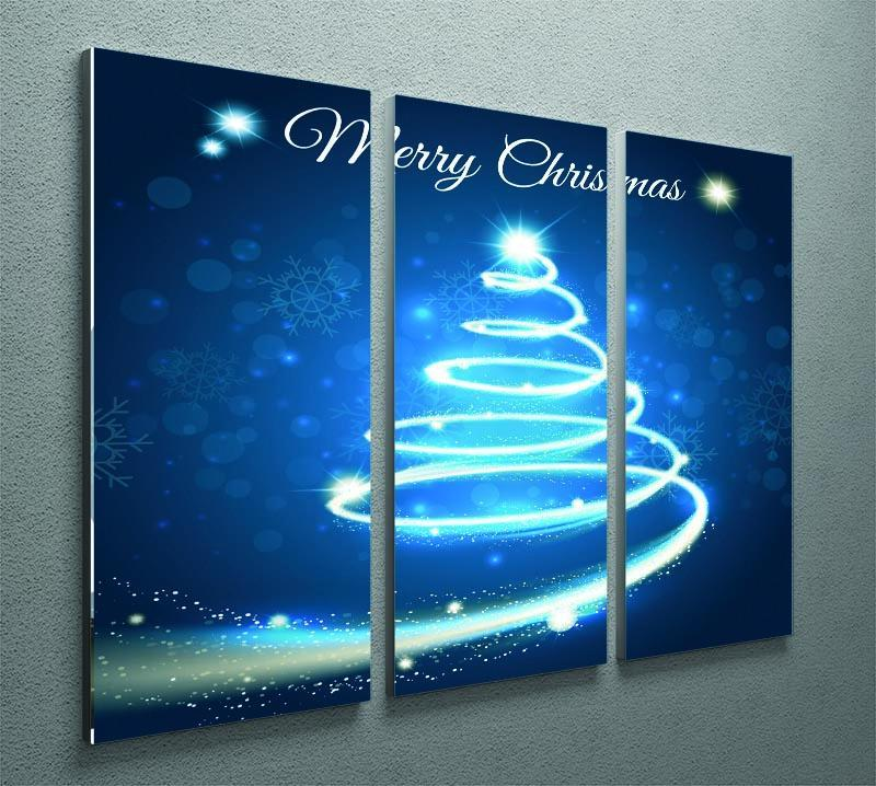Christmas Blue Tree 3 Split Panel Canvas Print - Canvas Art Rocks - 2