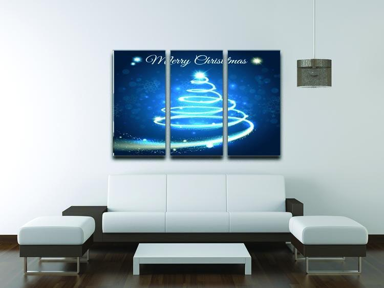 Christmas Blue Tree 3 Split Panel Canvas Print - Canvas Art Rocks - 3