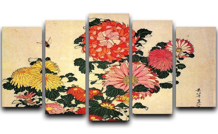 Chrysanthemum and bee by Hokusai 5 Split Panel Canvas