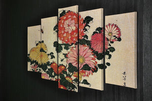 Chrysanthemum and bee by Hokusai 5 Split Panel Canvas - Canvas Art Rocks - 2