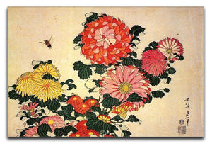 Chrysanthemum and bee by Hokusai Canvas Print or Poster  - Canvas Art Rocks - 1