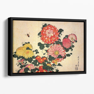 Chrysanthemum and bee by Hokusai Floating Framed Canvas