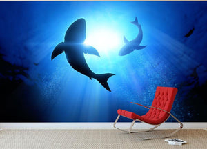 Circle two great white sharks Wall Mural Wallpaper - Canvas Art Rocks - 3