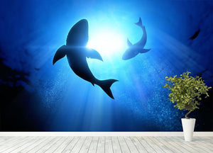 Circle two great white sharks Wall Mural Wallpaper - Canvas Art Rocks - 4