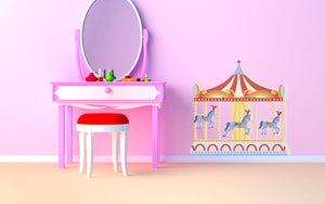 Circus Carousel - Version 2 Wall Decal - Canvas Art Rocks - 1