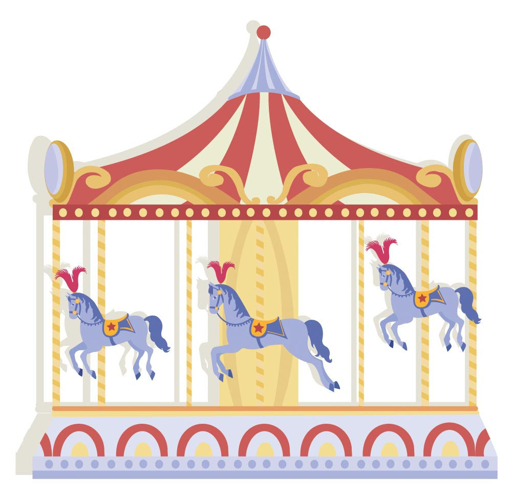 Circus Carousel - Version 2 Wall Decal | Canvas Art Rocks