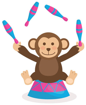 Circus Juggling Monkey Wall Decal - Canvas Art Rocks - 3
