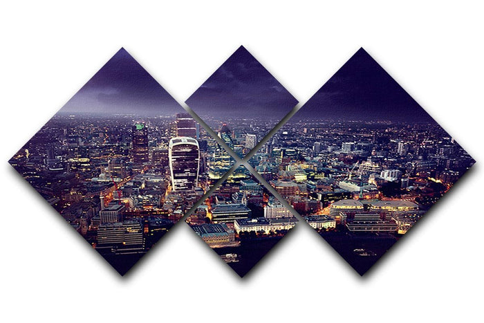 City of London At Sunset 4 Square Multi Panel Canvas