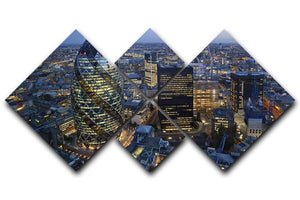 City of London lit up at night 4 Square Multi Panel Canvas  - Canvas Art Rocks - 1