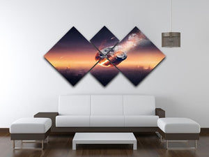 City on earth destroyed by meteor shower 4 Square Multi Panel Canvas - Canvas Art Rocks - 3