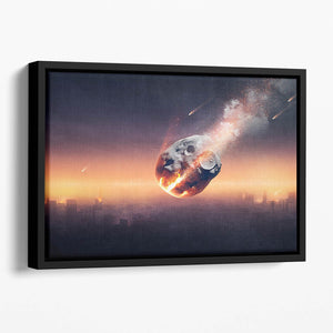 City on earth destroyed by meteor shower Floating Framed Canvas