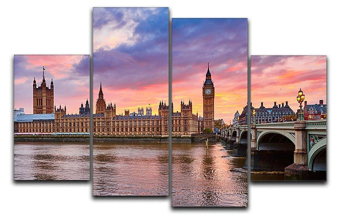 Cityscape of Big Ben and Westminster Bridge 4 Split Panel Canvas