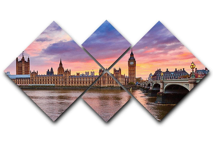 Cityscape of Big Ben and Westminster Bridge 4 Square Multi Panel Canvas