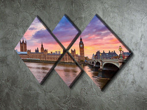 Cityscape of Big Ben and Westminster Bridge 4 Square Multi Panel Canvas  - Canvas Art Rocks - 2