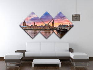 Cityscape of Big Ben and Westminster Bridge 4 Square Multi Panel Canvas  - Canvas Art Rocks - 3