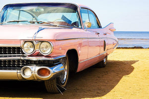 Classic pink car at beach Wall Mural Wallpaper - Canvas Art Rocks - 1