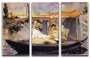 Claude Monet Dans Son Bateau Atelier 1874 by Manet 3 Split Panel Canvas Print - Canvas Art Rocks - 1