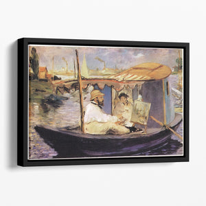 Claude Monet Dans Son Bateau Atelier 1874 by Manet Floating Framed Canvas