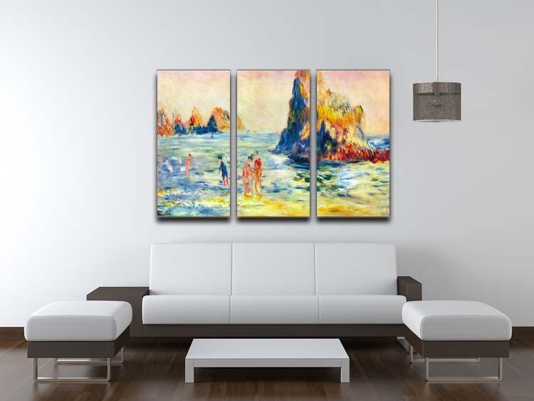 Cliffs at Guernsey by Renoir 3 Split Panel Canvas Print - Canvas Art Rocks - 3
