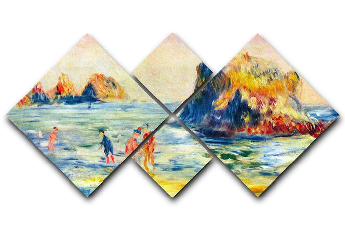 Cliffs at Guernsey by Renoir 4 Square Multi Panel Canvas