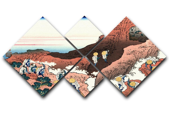 Climbing on Mt. Fuji by Hokusai 4 Square Multi Panel Canvas