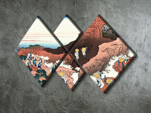 Climbing on Mt. Fuji by Hokusai 4 Square Multi Panel Canvas - Canvas Art Rocks - 2