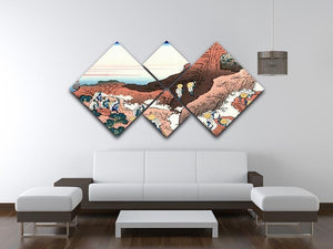 Climbing on Mt. Fuji by Hokusai 4 Square Multi Panel Canvas - Canvas Art Rocks - 3