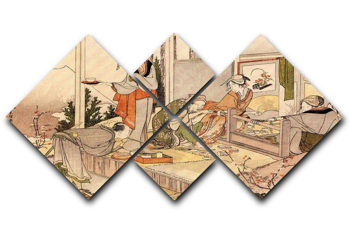 Close to mount Fuji by Hokusai 4 Square Multi Panel Canvas