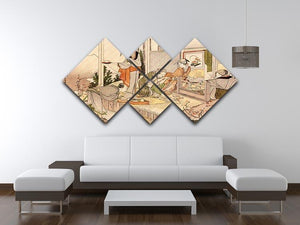 Close to mount Fuji by Hokusai 4 Square Multi Panel Canvas - Canvas Art Rocks - 3