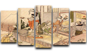 Close to mount Fuji by Hokusai 5 Split Panel Canvas  - Canvas Art Rocks - 1