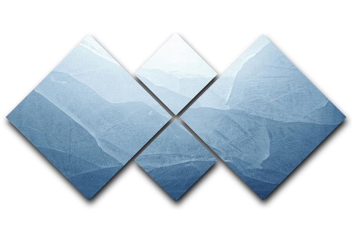 Closeup of blue ice background 4 Square Multi Panel Canvas