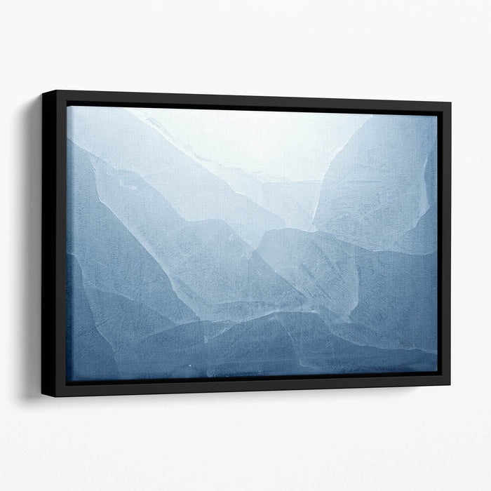Closeup of blue ice background Floating Framed Canvas