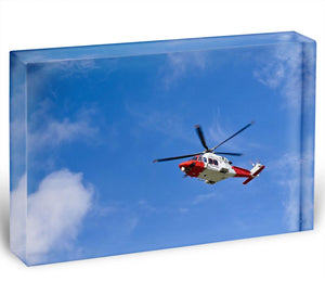 Coastguard helicopter in the blue sky Acrylic Block - Canvas Art Rocks - 1