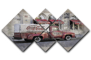 Coca Cola Van Painting 4 Square Multi Panel Canvas  - Canvas Art Rocks - 1