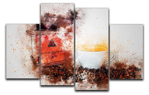 Coffee Painting 4 Split Panel Canvas  - Canvas Art Rocks - 1