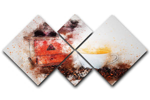 Coffee Painting 4 Square Multi Panel Canvas  - Canvas Art Rocks - 1
