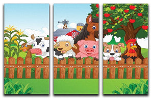 Collection farm animals 3 Split Panel Canvas Print - Canvas Art Rocks - 1