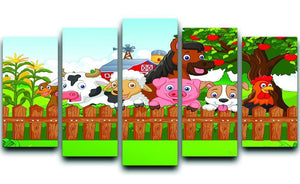 Collection farm animals 5 Split Panel Canvas - Canvas Art Rocks - 1