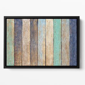 Colorful Wooden Plank Floating Framed Canvas
