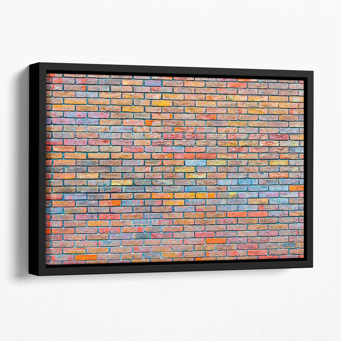 Colorful brick wall texture Floating Framed Canvas
