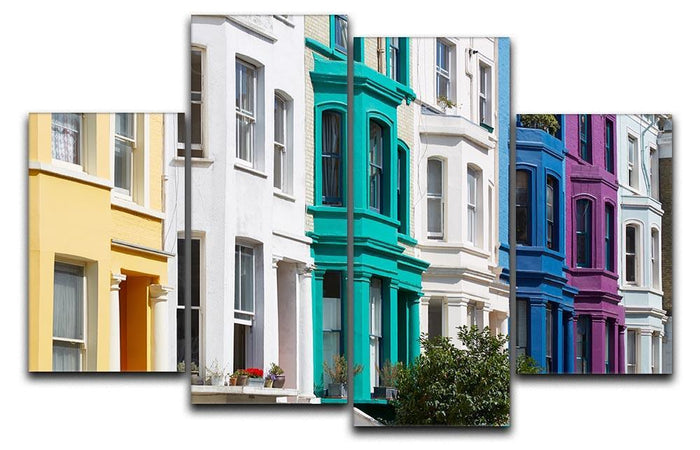Colorful english houses 4 Split Panel Canvas