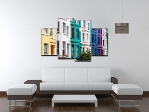 Colorful english houses 4 Split Panel Canvas  - Canvas Art Rocks - 3