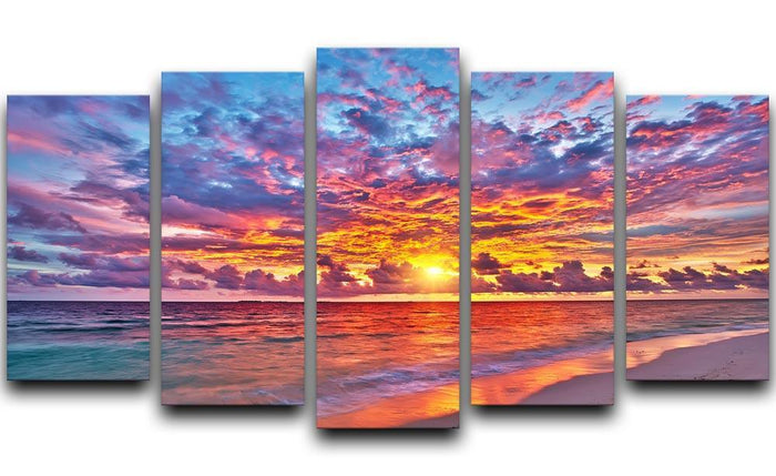 Colorful sunset over ocean on Maldives 5 Split Panel Canvas